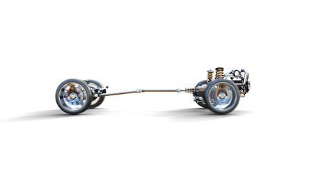chassis: Car chassis with engine on white isolate Stock Photo