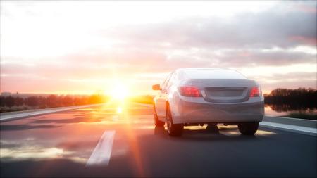 Luxury white car on highway Stock Photo