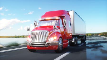 semi remolque, camión en la carretera, carretera. Transports, concepto de logística. Representación 3d Foto de archivo