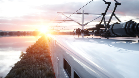high speed train: Electric passenger train. Very fast driving. journey and travel concept. 3d rendering.