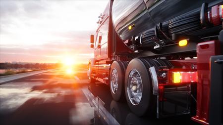 truck driver: Gasoline tanker, Oil trailer, truck on highway. Very fast driving. 3d rendering.