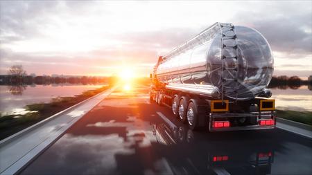 ガソリン タンカー、石油トレーラー、高速道路上のトラック。非常に高速運転。3 d レンダリング。