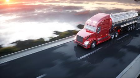 가솔린 유조선, 오일 트레일러, 고속도로에서 트럭. 매우 빠른 운전. 3d 렌더링입니다.
