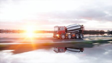 Concrete mixer truck on highway. Very fast driving. Building and transport concept. 3d rendering. Stock Photo