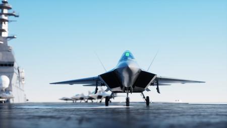 Straal f22, vechter op vliegdekschip in overzees, oceaan. Oorlog en wapen concept. 3D-rendering.