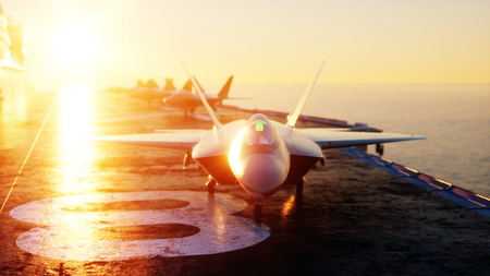 battleship: Jet f22, fighter on aircraft carrier in sea, ocean . War and weapon concept. 3d rendering.