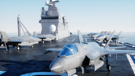 Jet f35, fighter on aircraft carrier in sea, ocean . War and weapon concept. 3d rendering.