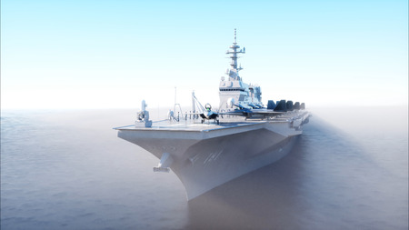 Vliegtuig vervoerder in zee, oceaan met vechter. Oorlog en wapenconcept. 3D-weergave.