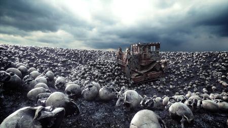 古いブルドーザーと頭蓋骨の山。黙示録と地獄の概念。3 d レンダリング。