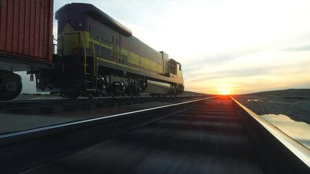 high speed train: Freight train with cargo containers. Against Sunrise. 3d rendering.
