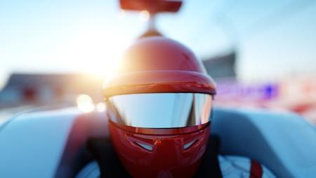 Racer van formule 1 in een raceauto. Race- en motivatieconcept. Wonderfull zonsondergang. 3D-rendering.