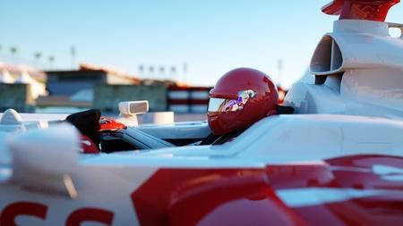 フォーミュラ 1 のレーシングカーのレーサー。レースと動機の概念。素晴らしいサンセット。3 d レンダリング。