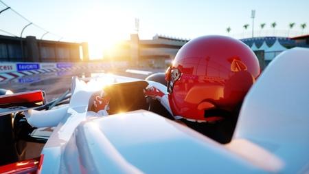 Racer di Formula 1 in un'auto da corsa. Concetto di razza e motivazione. Meraviglioso tramonto. Rendering 3d. Archivio Fotografico - 80153809