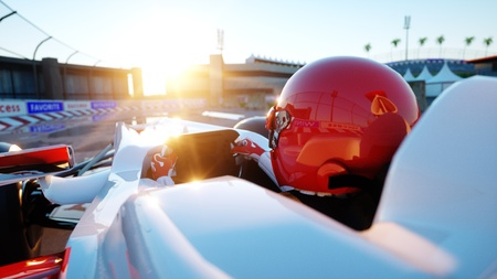 Racer of formula 1 in a racing car. Race and motivation concept. Wonderfull sunset. 3d rendering. Stock Photo - 80153809