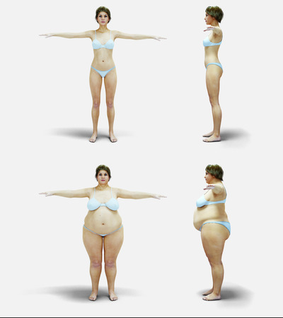 Fat women. Slimming and obesity process. Women weight loss success. Diet and health concept. Isolate. 3d rendering Stock Photo
