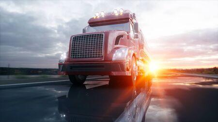 heavy: Gasoline tanker, Oil trailer, truck on highway. Very fast driving. 3d rendering.