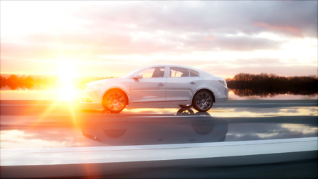 wonderfull: Luxury white car on highway, road. Very fast driving. Wonderfull sunset. Travel and motivation concept. 3d rendering. Stock Photo