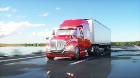 heavy: semi trailer, Truck on the road, highway. Transports, logistics concept. 3d rendering.