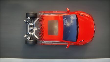 Red car chassis with engine on highway. Transition with particles. Very fast driving. Auto concept. 3d rendering.