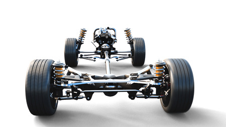 Car chassis with engine on white isolate. 3d rendering. Stock Photo