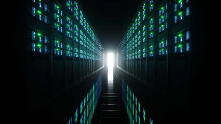 interior of server room in datacenter with 3d rendering Stock Photo