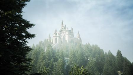 Antiguo castillo de cuento de hadas en la colina en vista aérea con representación 3D