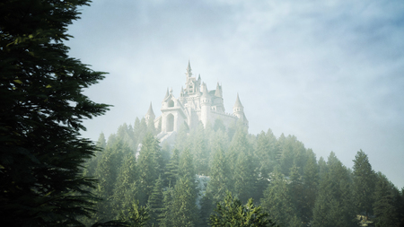 Old fairytale castle on the hill in aerial view with 3d rendering Imagens
