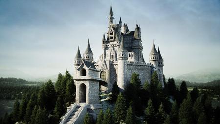 Antiguo castillo de cuento de hadas en la colina en vista aérea con representación 3D Foto de archivo - 84218172