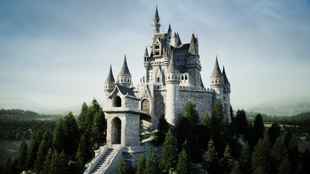 Old fairytale castle on the hill in aerial view with 3d rendering Фото со стока