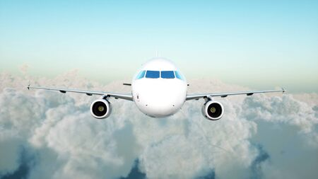 Passenger airbus flying in the clouds. Travel concept. 3d rendering. Фото со стока - 84577109