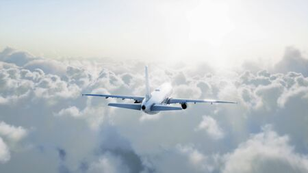 Passenger airbus flying in the clouds. Travel concept. 3d rendering. Фото со стока