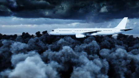 Passenger airbus flying in the clouds. Travel concept. 3d rendering. Stock Photo