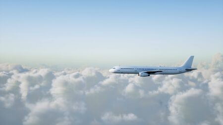 Passenger airbus flying in the clouds. Travel concept. 3d rendering. Фото со стока - 84577116
