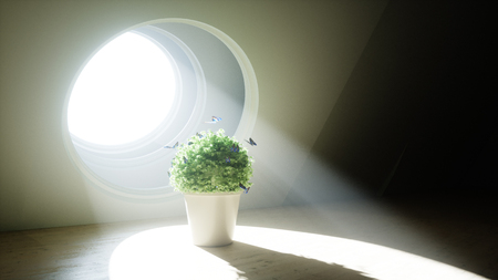 an open space: Futuristic room with flower pot and butterflyes around. Volumetric light. Future concept. 3D Rendering, Stock Photo