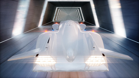 metal structure: futuristic flying car fast driving in sci fi tunnel, coridor. Concept of future. 3d rendering.