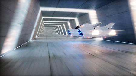 futuristic flying car fast driving in sci fi tunnel, coridor. Concept of future. 3d rendering.