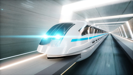 futuristic modern train, monorail fast driving in sci fi tunnel, coridor. Concept of future. 3d rendering