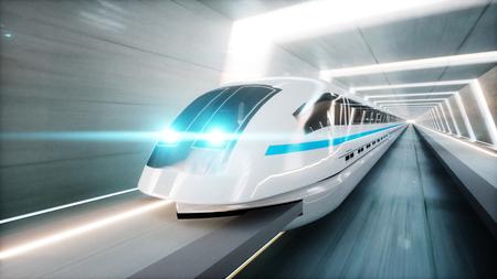 tren moderno futurista, monorriel de conducción rápida en el túnel de ciencia ficción, coridor. Concepto de futuro Representación 3D