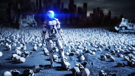military robot and skulls of people. Dramatic apocalypse super realistic concept. Rise of the Machines. Dark future. 3d rendering. Stock Photo