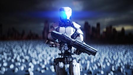 robot militar y cráneos de personas. Dramático apocalipsis superrealista concepto. Rebelión de las máquinas. Futuro oscuro Representación 3D.