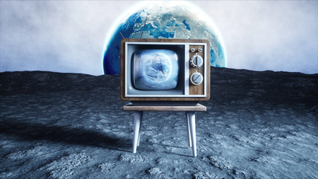 old wooden vintage TV on the moon. Earth background. Space concept. Broadcast. 3d rendering.