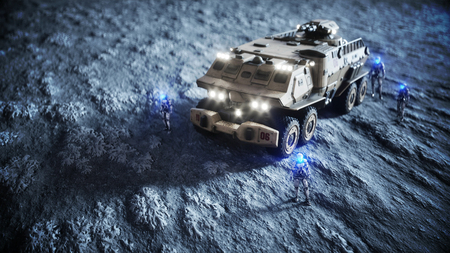 moon rover: Military car on moon with robots. Moon colony. Earth backround. 3d rendering.