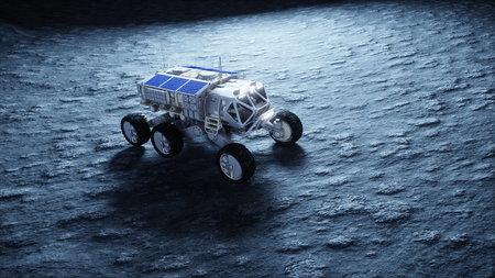 Moon rover on the moon. space expedition. Earth background. 3d rendering. Stock Photo