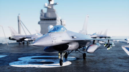 Jet f16, fighter on aircraft carrier in sea, ocean . War and weapon concept. 3d rendering.
