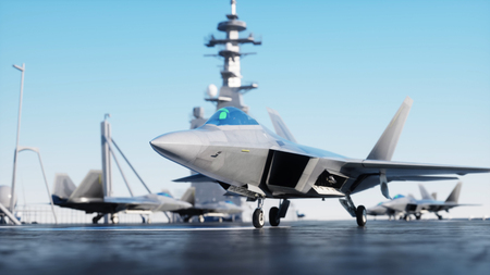 Jet f22, fighter on aircraft carrier in sea, ocean . War and weapon concept. 3d rendering.