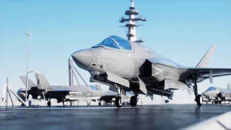 ジェット f35、海で空母に戦闘機海。戦争と兵器のコンセプトです。3 d レンダリング。 写真素材