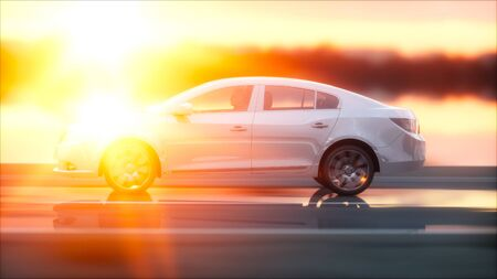 Luxury white car on highway, road. Very fast driving. Wonderfull sunset. Travel and motivation concept. 3d rendering. Stock Photo