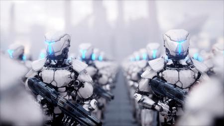 군사 로봇의 침공. 극적인 종말 슈퍼 현실적인 개념입니다. 미래. 3d 렌더링입니다.