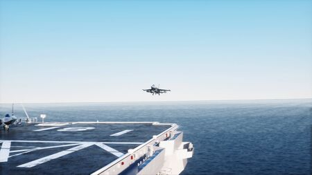 battleship: landing jet f16 on aircraft carrier in ocean. Military and war concept. 3d rendering.