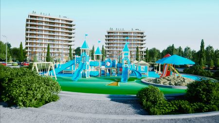City, playground architectural 3d visualization. 3d rendering.